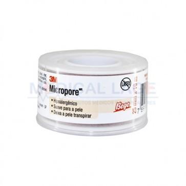 Fita Micropore - 25mmx10m - Com capa  - Bege (Cor da pele) 3M