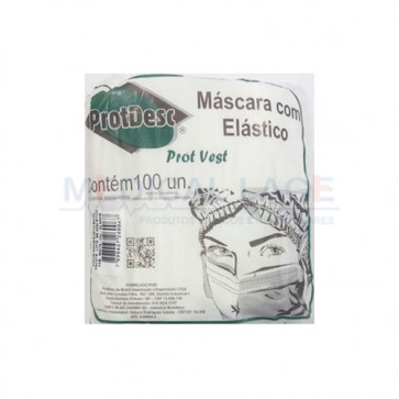 Mascara Cirurgica Descartavel SIMPLES com elastico - ProtDesc - Pacote c/ 100 Un.