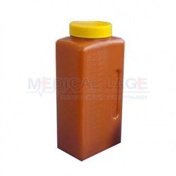 Pote coletor de urina 24hrs capacidade 2L - Cor Âmbar