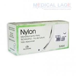 Fio de Sutura NYLON 4-0 com agulha 3/8 de 20mm - Technofio - Cx com 24