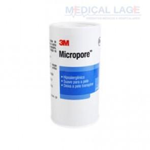 Fita Micropore - 100mmx10m - Com capa  - Branca - 3M - rolo