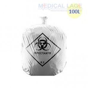 Saco de Lixo Hospitalar Branco 100L - Azeplast - c/ 100 Un.