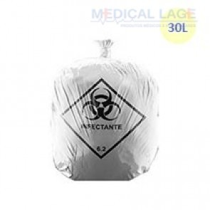 Saco de Lixo Hospitalar Branco 30L - Azeplast - c/ 100 Un.