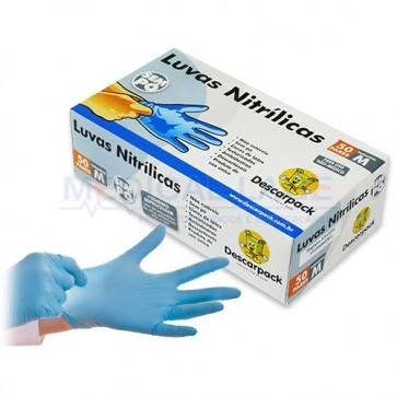 Luva de Nitrilo Azul Sem pó M - Descarpack - c/ 100 Un.