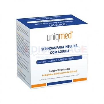 Seringa de Insulina 0,5ml (50ui) com agulha 6x0,25 - Uniqmed - Caixa com 100