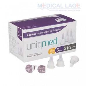 Agulha para caneta - Insulina - 0,25x5mm - (31G) - Uniqmed - Caixa com 100
