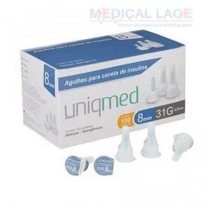Agulha para caneta - Insulina - 0,25x8mm - (31G) - Uniqmed - Caixa com 100