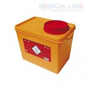 Coletor plástico rigido para resíduos tóxicos laranja 7L - Descarpack